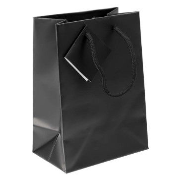 Black Color Paper Gift Bags , Shopping Tote Paper Bag With String